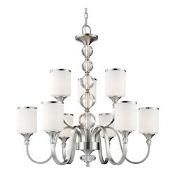 Z-Lite Nine Light Brushed Nickel White Glass Up Chandelier
