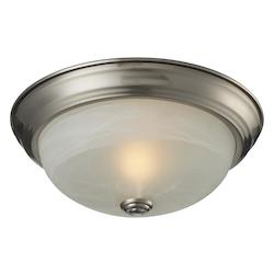 Z-Lite One Light Brushed Nickel White Swirl Glass Bowl Flush Mount