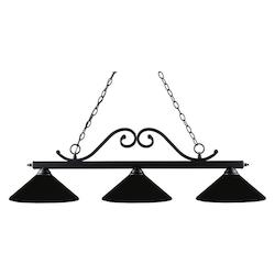 Z-Lite Three Light Matte Black Matte Black Shade Island Light