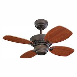 Monte Carlo Colony Ii 28-Inch 4-Blade Ceiling Fan With Teak Blades