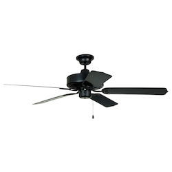 Craftmade Matte Black Cove Harbor 52in. 5 Blade Outdoor Ceiling Fan - Blades Included