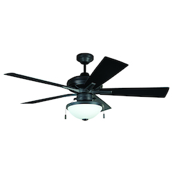 Craftmade Aged Bronze 52in. 5 Blade Outdoor Ceiling Fan - Blades and Light Kit Included