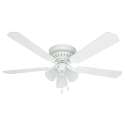 Craftmade White Builder 52in. 4 Blade Indoor Ceiling Fan - Light Kit Included
