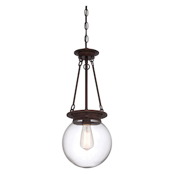 Savoy House One Light Clear Glass Oiled Burnished Bronze Down Pendant