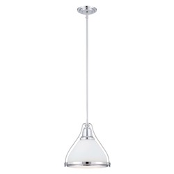 Savoy House One Light Polished Nickel White Glass Down Pendant