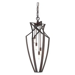 Savoy House Four Light English Bronze Open Frame Foyer Hall Fixture