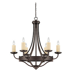 Savoy House Six Light Oiled Copper Up Chandelier
