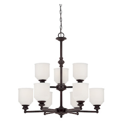 Savoy House Nine Light English Bronze White Opal Etched Glass Up Chandelier