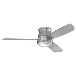 Savoy House One Light Satin Nickel White Frosted Glass Hugger Ceiling Fan