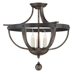Savoy House Three Light Reclaimed Wood Cage Semi-Flush Mount