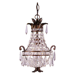 Savoy House One Light New Tortoise Shell Crystal Clear Down Mini Chandelier