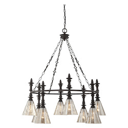 Savoy House Eight Light Oiled Bronze Smoked Water Glass Down Chandelier