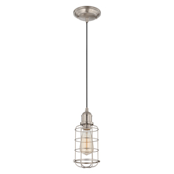 Savoy House One Light Satin Nickel Wire Cage Shade Down Mini Pendant