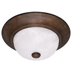 Savoy House Two Light Ribbed Marble Glass Brownstone Bowl Flush Mount