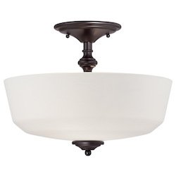 Savoy House Two Light English Bronze White Opal Etched Glass Bowl Semi-Flush Mount