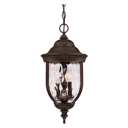 Savoy House Three Light Walnut Patina Clear Hammered Glass Hanging Lantern