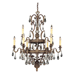 Savoy House Nine Light Moroccan Bronze Crystal Clear Cut Up Chandelier