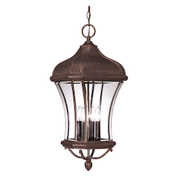 Savoy House Four Light Walnut Patina Clear Beveled Glass Hanging Lantern