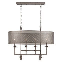 Savoy House Four Light Metal Mesh Shade Aged Steel Island Light