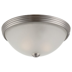 Savoy House Two Light Satin Nickel White Etched Glass Bowl Flush Mount
