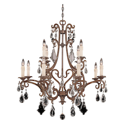 Savoy House Twelve Light New Tortoise Shell Crystal Full Cut Clear Up Chandelier