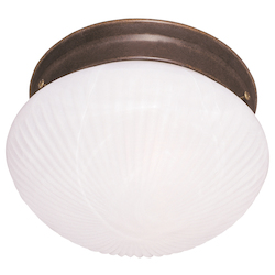 Savoy House Two Light White Ribbed Marble Glass Brownstone Mushroom Flush Mount