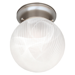 Savoy House One Light Satin Nickel White Ribbed Marble Glass Bowl Flush Mount