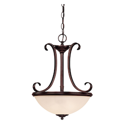 Savoy House Two Light English Bronze Cream Marble Glass Up Pendant
