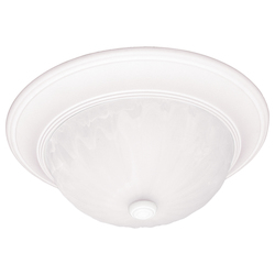 Savoy House Two Light Ribbed Marble Glass Matte White Bowl Flush Mount