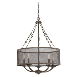 Savoy House Five Light Metal Shade Galaxy Bronze Drum Shade Chandelier