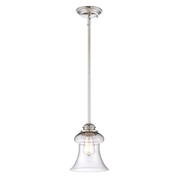 Savoy House One Light Clear Glass Polished Nickel Down Mini Pendant