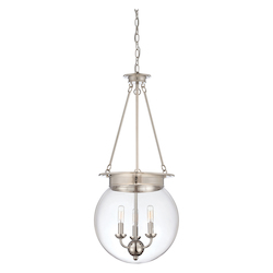 Savoy House Three Light Clear Glass Polished Nickel Up Pendant
