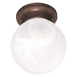Savoy House One Light White Ribbed Marble Glass Brownstone Bowl Flush Mount