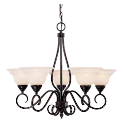 Savoy House Five Light English Bronze Cream Faux Alabaster Glass Up Chandelier