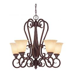 Savoy House Five Light Bark & Gold Up Chandelier