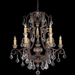 Savoy House Nine Light New Tortoise Shell W/Silver Crystal Clear Up Chandelier