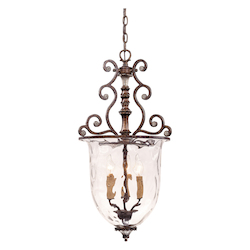 Savoy House Three Light New Tortoise Shell Clear Watered Glass Foyer Hall Fixture