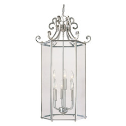 Savoy House Six Light Pewter Finish Clear Beveled Glass Foyer Light Fixture