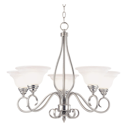 Savoy House Five Light Pewter White Faux Alabaster Glass Up Chandelier