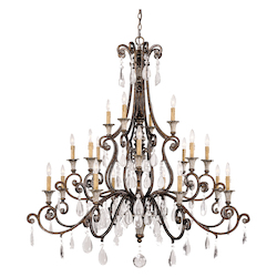 Savoy House Twenty Light New Tortoise Shell W/Silver Crystal Clear Up Chandelier