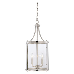 Savoy House Open Box Three Light Clear Glass Polished Nickel Foyer Hall Pendant