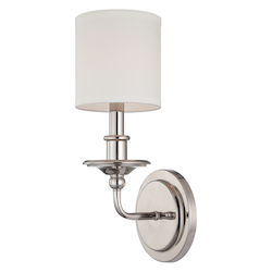 Savoy House Open Box One Light White Shade Polished Nickel Wall Light