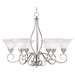 Savoy House Six Light Pewter White Faux Alabaster Glass Up Chandelier