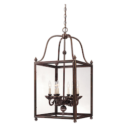 Savoy House Six Light Old Bronze Clear Glass Framed Glass Foyer Hall Fixture