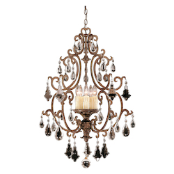 Savoy House Five Light New Tortoise Shell Crystal Open Frame Foyer Light