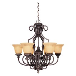 Savoy House Six Light Antique Copper Up Chandelier