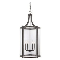 Savoy House Six Light English Bronze Clear Glass Foyer Hall Pendant