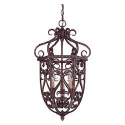 Savoy House Three Light Bark & Gold Open Frame Foyer Hall Fixture