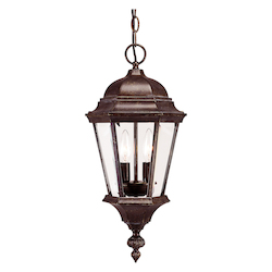 Savoy House Two Light Walnut Patina Clear Beveled Glass Hanging Lantern