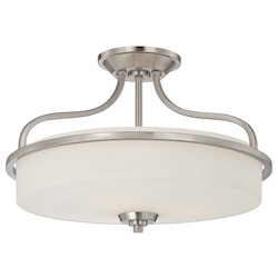 Savoy House Three Light Satin Nickel Drum Shade Semi-Flush Mount